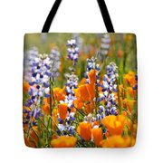 California Poppies And Lupine Wildflowers Tote Bag