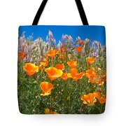 California Poppies, White Grasses And Blue Sky In Windy Antelope Valley Ca Poppy Reserve Tote Bag