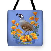California Quail And Golden Poppies Tote Bag by Crista Forest