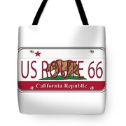 California Route 66 License Plate Tote Bag