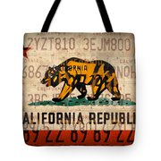 California State Flag Recycled Vintage License Plate Art Tote Bag