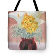 Callas, Daffys, And Dusty Miller Tote Bag