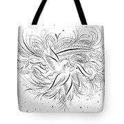 Calligraphic Love Birds Tote Bag