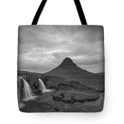 Calm Before The Storm At Kirkjufell Bw Tote Bag