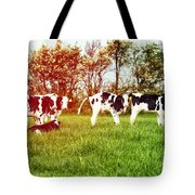 Calves In Spring Field Tote Bag