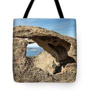 Calvi In Corsica Viewed Through A Hole In A Rock Tote Bag