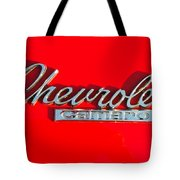 Camaro Logo On Cherry Red Car Tote Bag