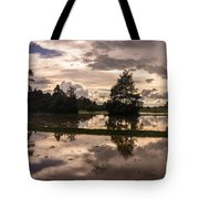 Cambodian Countryside Rice Fields Reflection Tote Bag