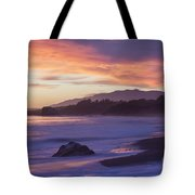 Cambria Coastline With Purple Sunset Colors Tote Bag