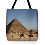 Camel Ride At The Pyramids Tote Bag