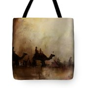Camels And Desert 18 Tote Bag
