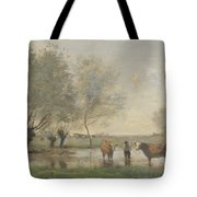 Camille Corot   Cows In A Marshy Landscape Tote Bag