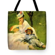 Camille Monet And Her Son Jean In The Garden At Argenteuil 1874 Tote Bag