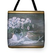 Camomile In The Pot And Busket With Pearls  Tote Bag