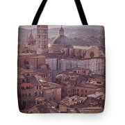 Campanile And Cathedral In Siena Italy Antique Matte Tote Bag