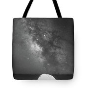 Camping Under The Galaxy Bw Tote Bag