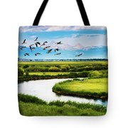 Canada Geese Entering Idaho's Teton Valley Tote Bag