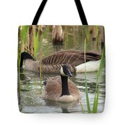Canada Geese In Pond Tote Bag
