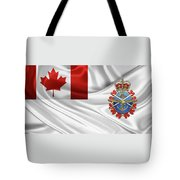 Canadian Armed Forces  -  C A F  Badge Over Flag Tote Bag
