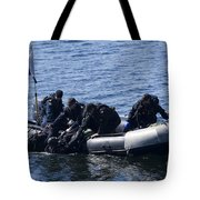 Canadian Divers Being Helped Aboard Tote Bag