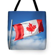 Canadian Flag Flying Proudly Tote Bag
