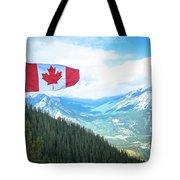 Canadian Flag Over Banff Tote Bag