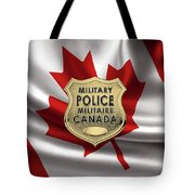 Canadian Forces Military Police C F M P  -  M P Officer Id Badge Over Canadian Flag Tote Bag