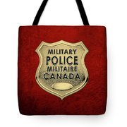 Canadian Forces Military Police C F M P  -  M P Officer Id Badge Over Red Velvet Tote Bag