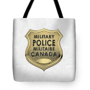 Canadian Forces Military Police C F M P  -  M P Officer Id Badge Over White Leather Tote Bag