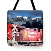 Canadian Pacific Trail Slices Through The Rockies Tote Bag