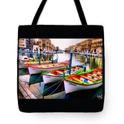 Canal Boats On A Canal In Venice L A S Tote Bag