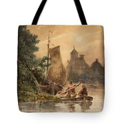 Canal Landscape With A Church Tote Bag