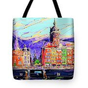 Canal Of Amsterdam, Storm Is Comming Tote Bag