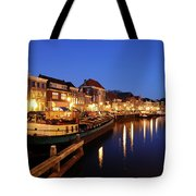 Canal Thorbeckegracht In Zwolle At Dusk With Boats Tote Bag