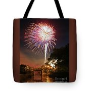 Canal View Of Fire Works Tote Bag