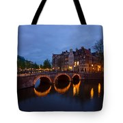 Canals Of Amsterdam At Night Tote Bag