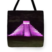 Cancun Mexico - Chichen Itza - Temple Of Kukulcan-el Castillo Pyramid Night Lights 2 Tote Bag