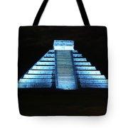 Cancun Mexico - Chichen Itza - Temple Of Kukulcan-el Castillo Pyramid Night Lights 3 Tote Bag