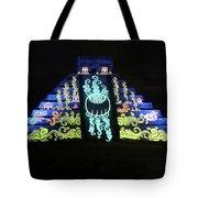 Cancun Mexico - Chichen Itza - Temple Of Kukulcan-el Castillo Pyramid Night Lights 6 Tote Bag