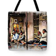 Candid Bored Yawn Pj Exotic Travel Blue City Streets India Rajasthan 1a Tote Bag