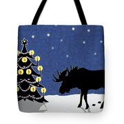 Candlelit Christmas Tree And Moose In The Snow Tote Bag