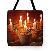 Candles In Terracotta Pots Tote Bag by Amanda Elwell
