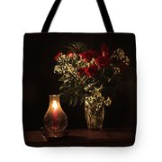 Candlestick And Roses Tote Bag