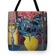 Candlesticks And Blossoms Tote Bag