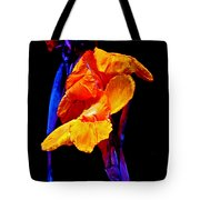 Canna Lilies On Black With Blue Tote Bag