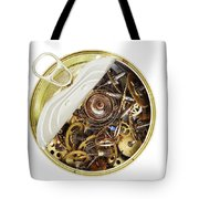 Canned Time - Parts Of Clockwork Mechanism In The Can Tote Bag by Michal Boubin