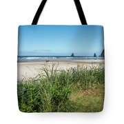 Cannon Beach And Purple Bloom Tote Bag