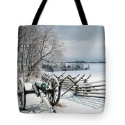 Cannon Under Snow Tote Bag