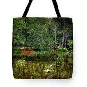 Canoe Among The Reeds Tote Bag