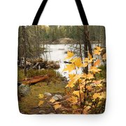 Canoe At Little Bass Lake Tote Bag by Larry Ricker